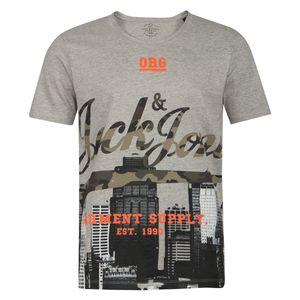 XXL Jack & Jones T-Shirt hellgrau meliert Print
