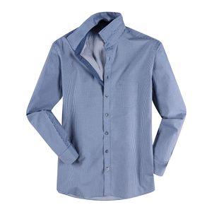Olymp Struktur Langarmhemd Muster indigo-weiß XXL