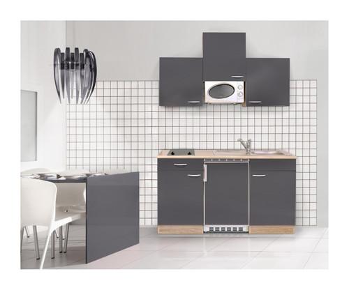 MEBASA Singleküche 150 cm Grau Hochglanz Ceranfeld Mikrowelle