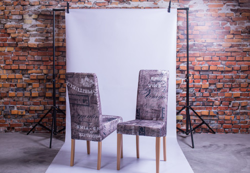 2x Stuhl Vino Braun/Grau Holzstuhl Polsterstuhl Esszimmerstuhl Echtholz