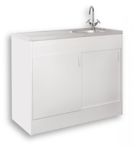 Mebasa KPSP10064 Spülenschrank - Komplettspüle, hochwertiger Spültisch inkl. Unterschrank mit Boden und Auflagenspüle mit Ab- und Überlaufgarnitur, moderner Küchenschrank, Maße: 100x60 cm, in Weiß