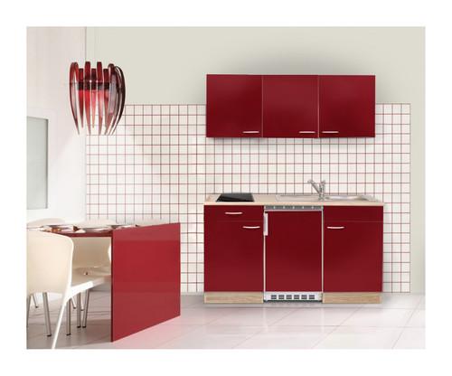 MEBASA Singleküche 150 cm Rot Hochglanz