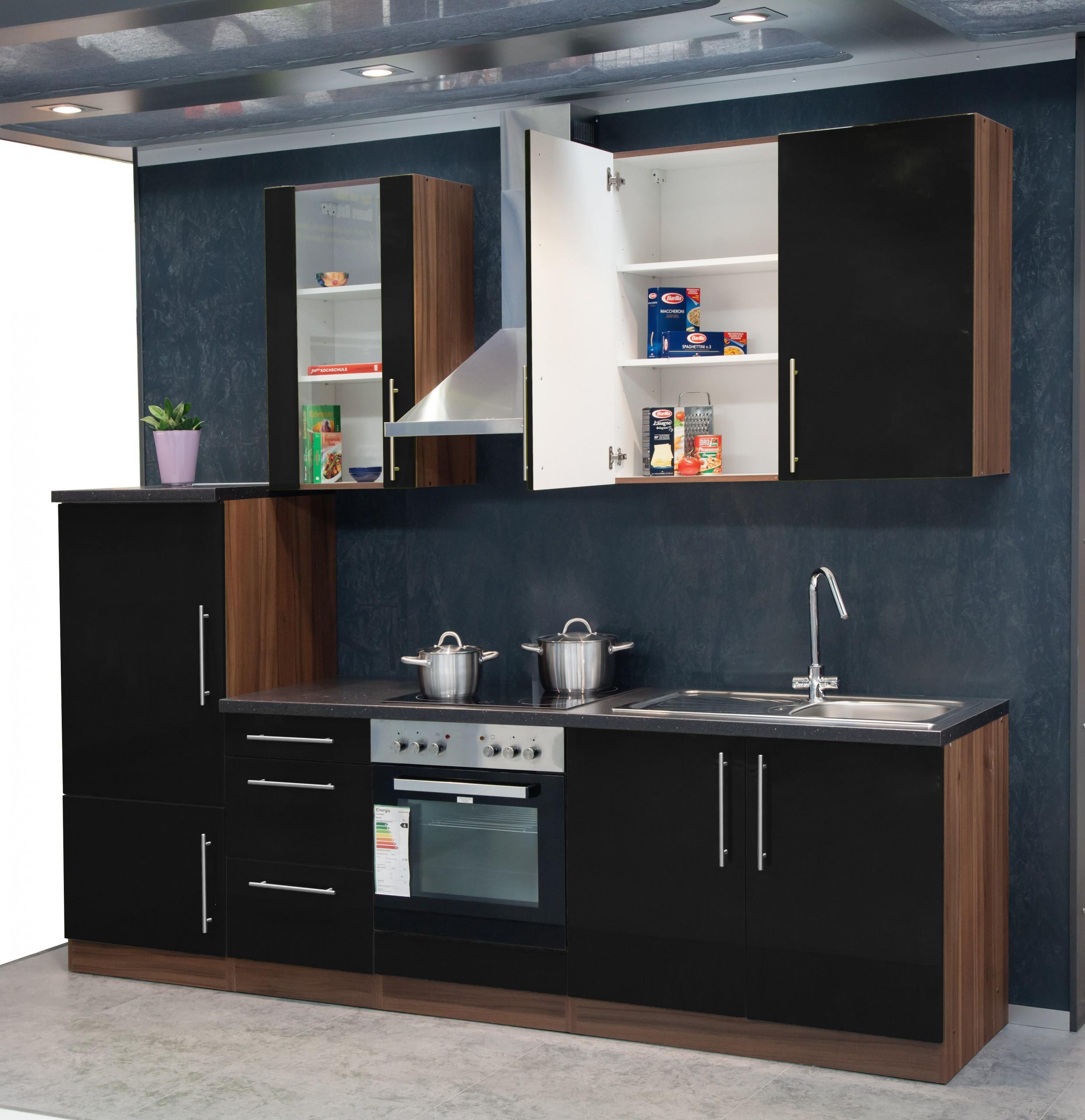 k chenzeile 270 cm mebasa hochglanzfronten in schwarz und. Black Bedroom Furniture Sets. Home Design Ideas
