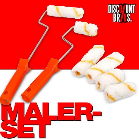 MALER-SET mit 2 Malerrollen + 6 Farbwalzen