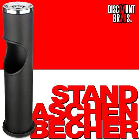 STAND-ASCHENBECHER für Müll- und Zigarettenabfälle (schwarz matt) 46cm – Bild 1
