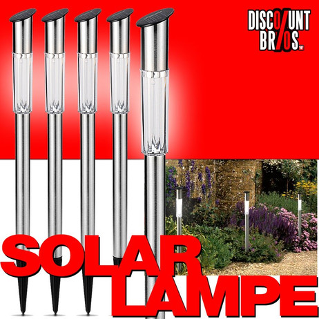 5 Stück LED SOLAR LAMPEN aus Edelstahl 62cm – Bild 1