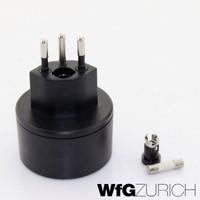Reiseadapter Übergangs-Stecker SCHUKO (Typ F CEE 7) > Schweiz / CH (T12)