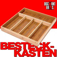Klassischer BESTECKKASTEN Schubladeneinsatz aus Bambus Holz 34×33,5×4,2cm 001