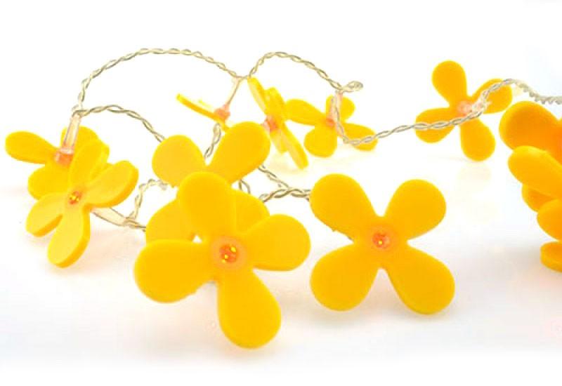 LED-Lichterkette DEKOLICHT Partygirlande gelbe Blumen