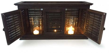 Edles XL Windlicht LATERNE Holz 46×16×24cm – Bild 2