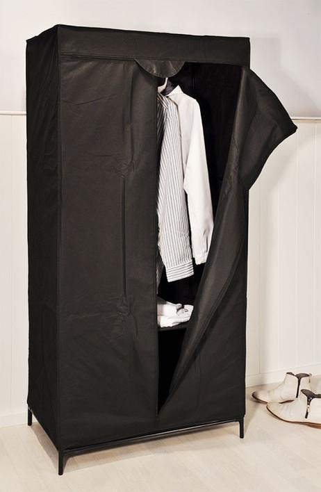 FALTSCHRANK Stoff Kleiderschrank Mottenschrank mit Ablage schwarz 75×45×160cm – Bild 3