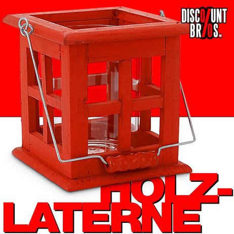 Rote LATERNE Windlicht aus Holz 13,5×13,5×14cm – Bild 1