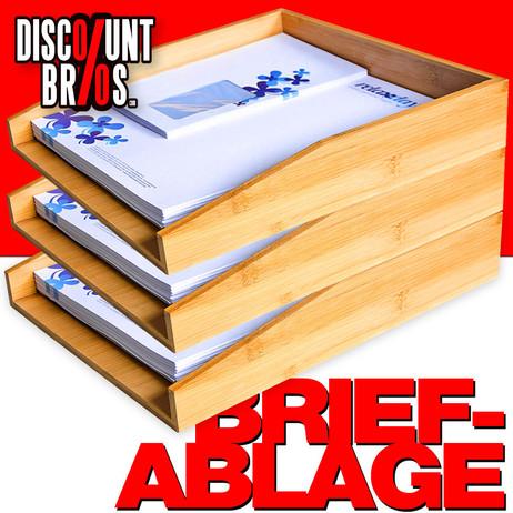 3 Papierablagen BRIEFABLAGEN aus Bambus Dokumentenablage 33×25×6cm 3er-Set – Bild 1