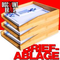 3 Papierablagen BRIEFABLAGEN aus Bambus Dokumentenablage 33×25×6cm 3er-Set 001