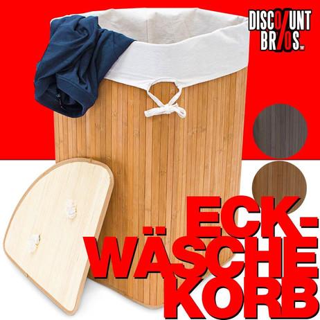 ECK-WÄSCHEKORB Wäschesammler Bambus Natur, Braun oder Schwarz