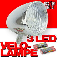 Retro-Design VELOLICHT mit 3 LED Fahrrad Velolampe Scheinwerfer Frontscheinwerfer CHROM