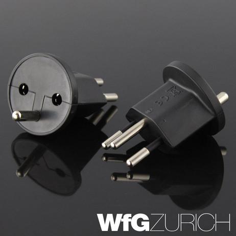 10 × Permanent Fix-Adapter Stecker + 1 Montagehilfe SCHUKO (Typ F CEE 7) zu Schweiz (T12) 3-polig SCHWARZ – Bild 3
