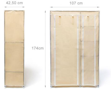 Faltschrank KLEIDERSCHRANK VALENTIN XL mit Regal 5 Ablagen (beige) – Bild 5
