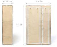 Faltschrank KLEIDERSCHRANK VALENTIN XL mit Regal 5 Ablagen (beige)