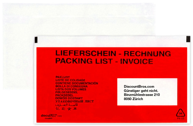 250 Stk. docuFIX® Rechnung – Lieferscheintaschen DOKUMENTENTASCHEN Fenster rechts