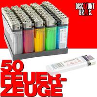 50 Einwegfeuerzeuge FEUERZEUG mit Kindersicherung farbig transparent