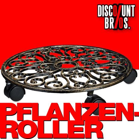 Retro PFLANZENROLLER aus Gusseisen im Antik-Design Ø33cm – Bild 1