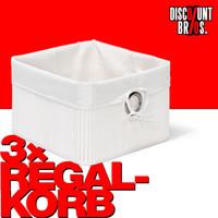 3er-Set Box Schrankkorb REGALKORB Aufbewahrungskorb aus Bambus WEISS