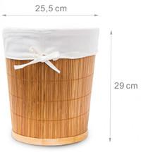 PAPIERKORB aus Bambus Aufbewahrungskorb mit Stoffeinlage