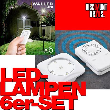 WalLED MINI LED LAMPEN batteriebetriebenes Licht mit Fernbedienung 6er-Pack – Bild 1