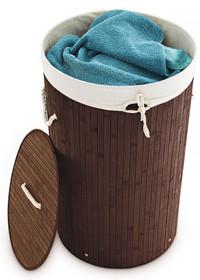 Wäschebox WÄSCHEKORB Wäschesammler Bambus rund NATUR, GRAU, BRAUN, WEISS oder SCHWARZ