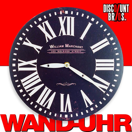 Vintage UHR Wanduhr LONDON William Marchant Black Ø29cm – Bild 1