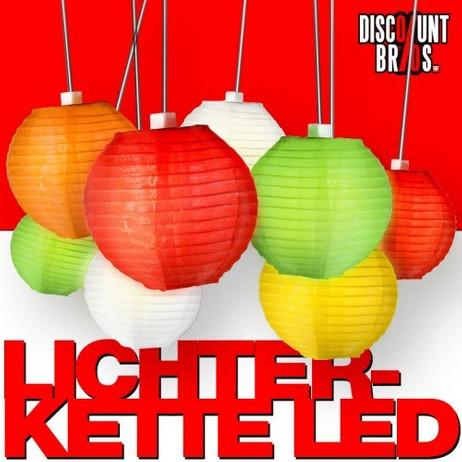 LED LICHTERKETTE mit 20 bunten Lampions