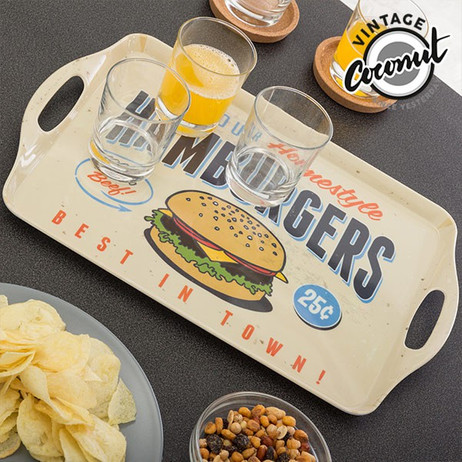 Vintage Food Tablett HAMBURGERS – Bild 3