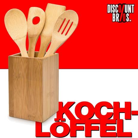 Küchenhelfer KOCHLÖFFEL mit Halter aus Bambus Holz 5er Set – Bild 1