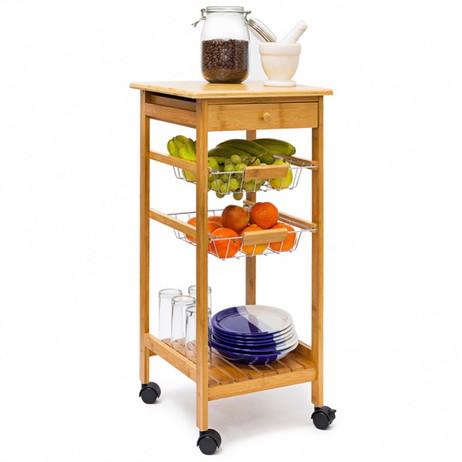 Haushaltswagen KÜCHENTROLLEY Küchenwagen Beistelltisch aus Bambus Grösse S – Bild 4
