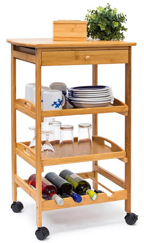 Haushaltswagen KÜCHENTROLLEY Servierwagen Küchenwagen Beistelltisch aus Bambus Grösse L – Bild 4