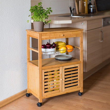 Haushaltswagen KÜCHENTROLLEY Servierwagen Küchenwagen Beistelltisch aus Bambus Grösse XL – Bild 3