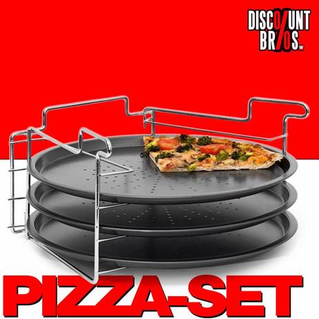 Pizzableche mit Halterung PIZZABÄCKER SET mit 3 Backblechen  – Bild 1