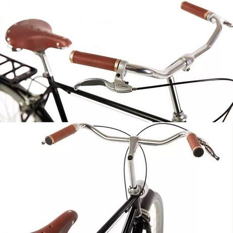 Velo Fahrrad LENKERGRIFFE Handgenäht Alu + Leder SCHWARZ-BRAUN – Bild 4