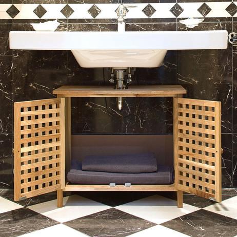 Waschbeckenunterschrank Waschbeckenschrank aus Walnuss – Bild 3