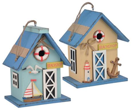 Vogel-Nisthaus NISTKASTEN für kleine Vögel Holz BEIGE 23cm  – Bild 3