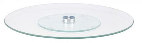 Drehbare Kuchenservierplatte DREHPLATTE Servierplatte aus Glas + Edelstahl Ø30cm – Bild 2