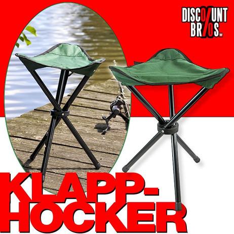 Klassischer Dreibein KLAPPHOCKER Klappstuhl Falthocker Campinghocker Campingstuhl GRÜN – Bild 1