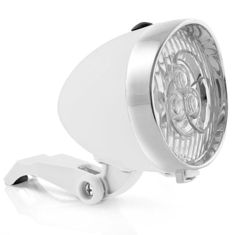 Retro-Design VELOLICHT mit 3 LED Fahrrad Velolampe Scheinwerfer Frontscheinwerfer WEISS