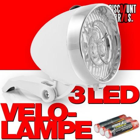 Retro-Design VELOLICHT mit 3 LED Fahrrad Velolampe Scheinwerfer Frontscheinwerfer WEISS – Bild 1