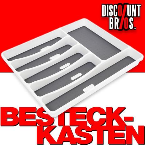 Klassischer BESTECKKASTEN Schubladeneinsatz aus Kunststoff weiss/anthrazit 32,5×40,5×5,5cm – Bild 1