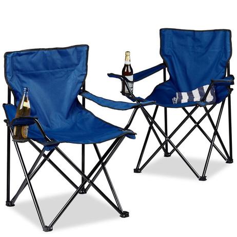 2er-Set Campingstuhl Klappstuhl FALTSTUHL mit Getränkehalter & Tasche BLAU – Bild 3