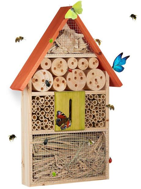 Insektenhotel XL BIENENHOTEL Holz ORANGE 48,5×31×7cm – Bild 2