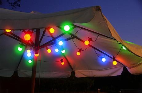 LED Party LICHTERKETTE Glühbirnen bunt mit 20 grossen Lampen  – Bild 3
