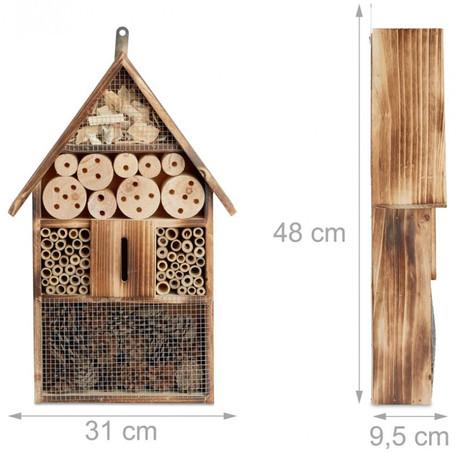 Insektenhotel BIENENHOTEL Tannenholz Geflammt XL 31×10×48cm – Bild 6